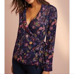 Anthro Floreat Parker Floral Wrap Shirt Size Med